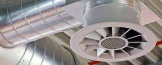 An image showing a white industrial ventilation system on a ceiling.